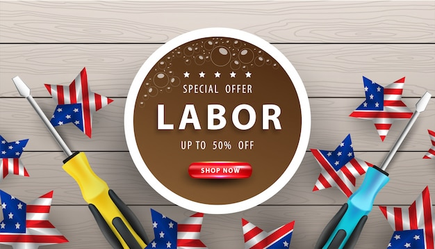 木製の背景に幸せな労働者の日poster.usa労働者の日のお祝い