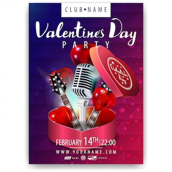 Poster of valentine's day party with hearts, microphones and guitars