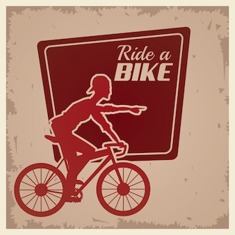 Poster vintage ride a bike cyclist silhouette