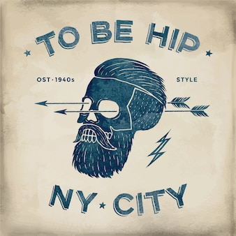Poster of vintage skull hipster label.