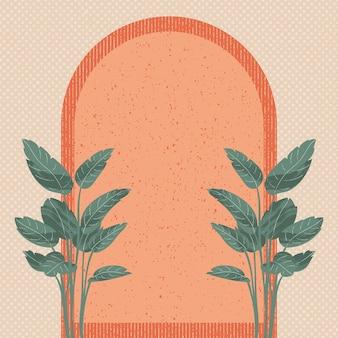 Плакат стены искусства вектор набор пальмы и листва линии искусства рисунок с абстрактной формой