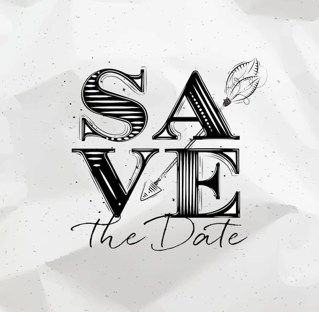 Poster wedding lettering save the date drawing