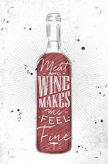 Плакат с бутылкой вина с надписью мясо и вино заставляет меня чувствовать себя прекрасно, рисую в винтажном стиле на грязной бумаге