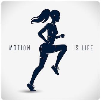 走っている女性とポスター