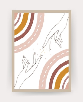 Poster with abstract boho rainbow and hands.