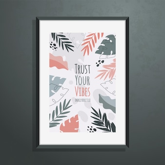 Poster with abstract botanical shapes