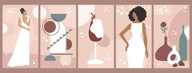 추상적인 모양, 여자 모양, 신부, 유리잔에 담긴 와인, 정물, 꽃병이 있는 포스터.