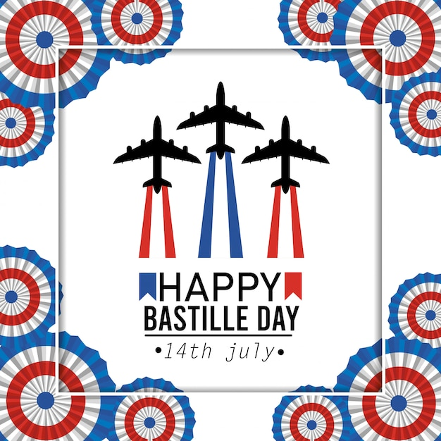 Poster with airplane celebration and france decoration