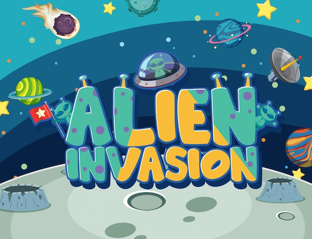 Poster with alien invasioin in the dark galaxy