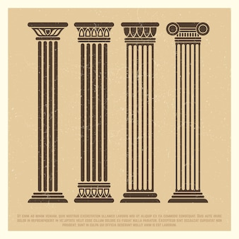 Poster with ancient columns set