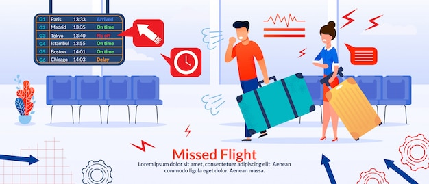 Poster with angry passengers and missed flight