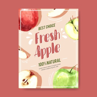 Poster with apple red and green fruits,watercolor illustration template
