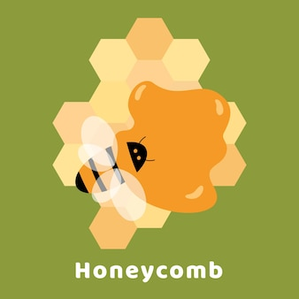 Poster with bee sitting in puddle of sweet honey on honeycombs in shape hexagon