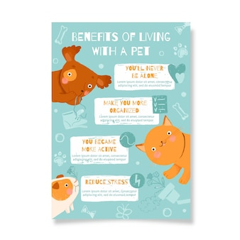 애완 동물과 함께 생활함으로써 얻는 혜택이있는 포스터