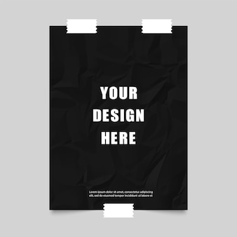 Poster with black crumpled paper and scotch tape