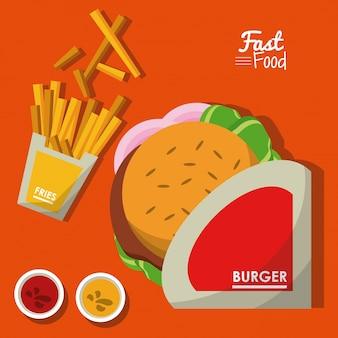 Плакат с гамбургером и соусами и картофелем фри Premium векторы