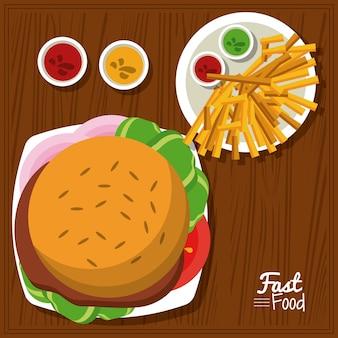 Плакат с гамбургером и соусами и картофелем фри