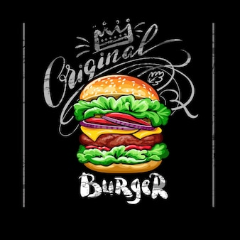 Poster with burger on black chalkboard background