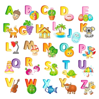 Poster with capital letters of the english alphabet, cute cartoon zoo animals and things. for kindergarten and preschool education. cards for learning english