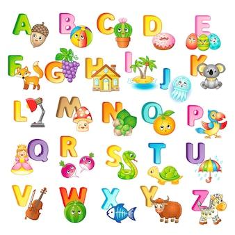 영어 알파벳의 대문자, 귀여운 만화 동물원 동물 및 사물이 있는 포스터. 유치원 및 유치원 교육용. 영어 학습을 위한 카드