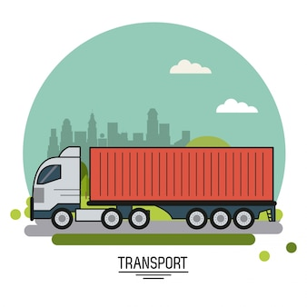 Poster with cargo truck on background outskirts of the city