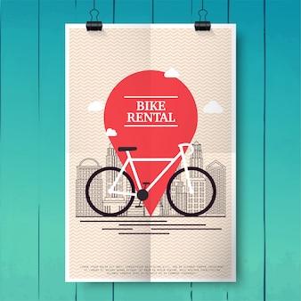 관광객과 도시 방문객을위한 도시 자전거 대여 렌탈 투어 포스터. 포스터 또는 배너 템플릿. 현대 벡터 일러스트 레이 션 개념입니다.