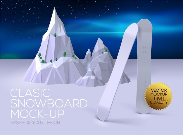 Poster with classic clean snowboard for your design