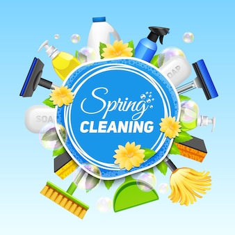 Poster with composition of different tools for cleaning service colored on blue background vector