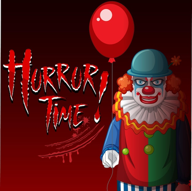 Poster with creepy clown holding balloon