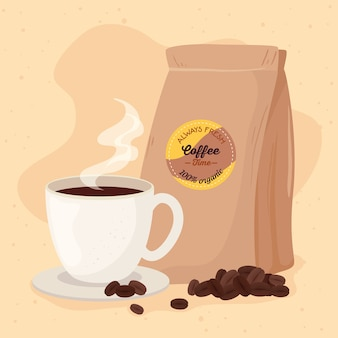 Poster with cup and bag of coffee organic illustration design