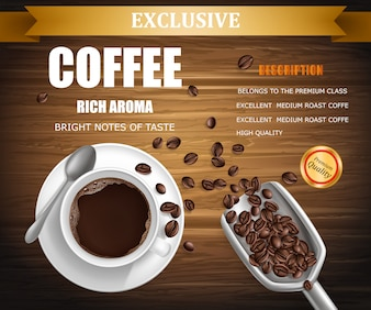 Poster with cup of coffee, package design