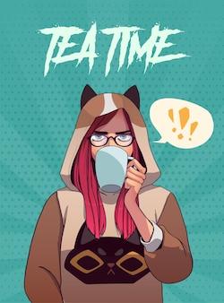 しゃがんでお茶を飲むかわいい女の子のポスター