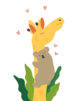 Poster with cute koala hugging giraffe. animal friendship concept.