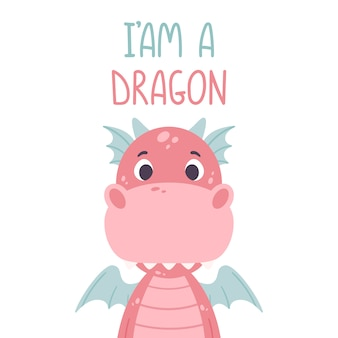 Poster with cute pink dragon and hand drawn lettering quote - i am a dragon.