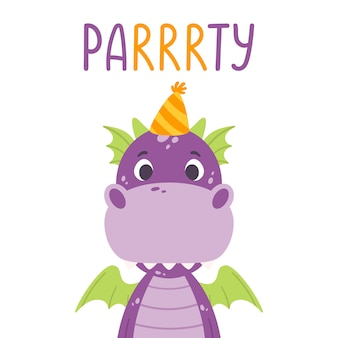 Poster with cute violet dragon in festive cap and hand drawn lettering quote - party.