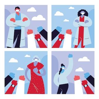 医師と医療用フェイスマスクを持つ人々とのポスター、コロナウイルスとの戦い
