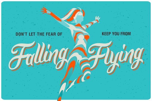 空飛ぶ女性イラストポスター