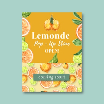 Poster with fruits-theme, creative orange watercolor illustration template.
