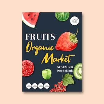Poster with fruits-theme, creative watercolor illustration template.