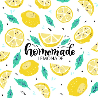 Poster with hand drawn lettering inscriptions about handmade lemonade