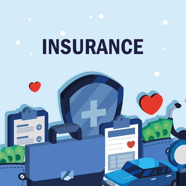 Poster with icons insurance car and medicine