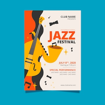 Poster with international jazz day template concept