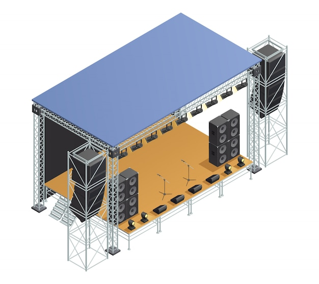 Poster with isometric image of stage metallic construction with speakers microphones spotlights and
