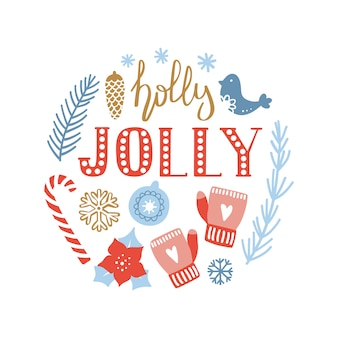 Poster with lettering holly jolly and decorative elements.