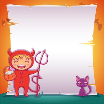 Poster with little devil with black kitten for happy halloween party. editable template with text space. for posters, banners, flyers, invitations, postcards.
