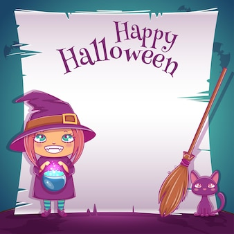 Poster with little girl in costume of witch with black kitten and broom for happy halloween party. editable template with text space. for posters, banners, flyers, invitations, postcards.