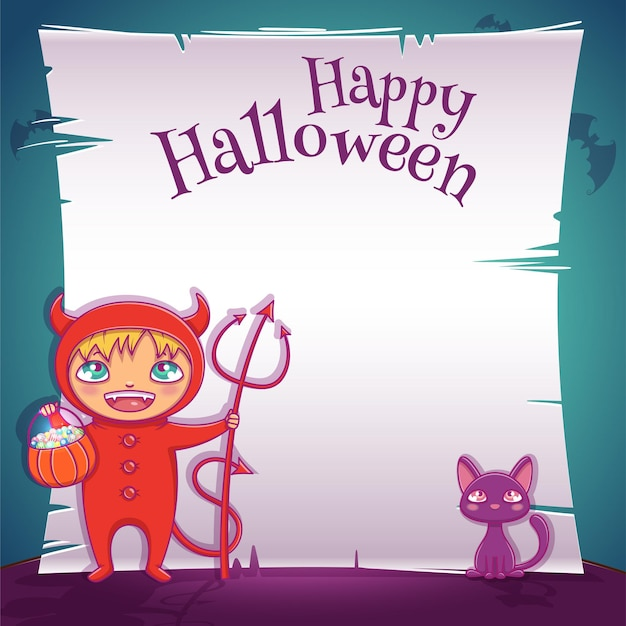 Poster with little kid in costume of devil with black kitten for happy halloween party. editable template with text space. for posters, banners, flyers, invitations, postcards.