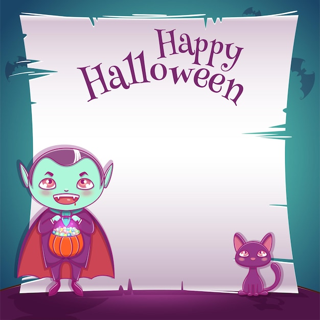 Poster with little kid in costume of vampire with black kitten for happy halloween party. editable template with text space. for posters, banners, flyers, invitations, postcards.