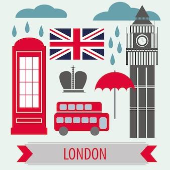 Плакат с символами лондона и достопримечательностями - векторные иллюстрации