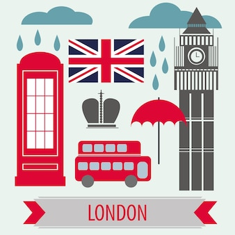 Poster with london symbols and landmarks - vector illustration